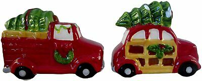 Holiday Salt + Pepper Shakers Red Pick Up Truck VW Bug with Christmas Tree
