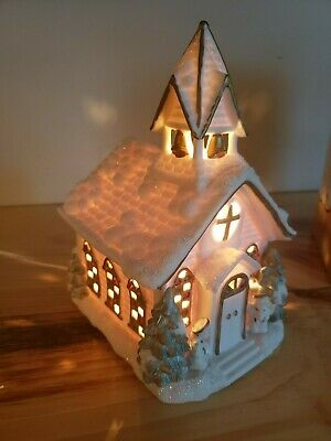 Porcelain Church Lamp Angels Trees Christmas Snowy Holiday Light Up Village
