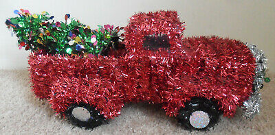 RED TRUCK Carrying Christmas Tree Wrapped in Garland With Wreath Happy Holidays
