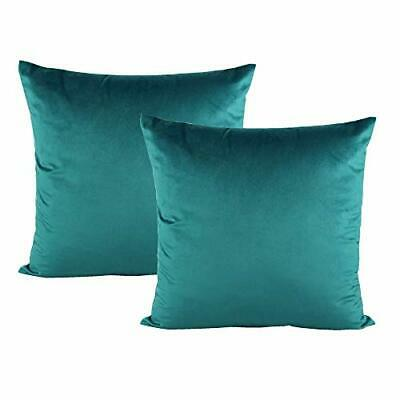 Set of 2 Decorative Teal Throw Pillow Covers Velvet Christmas Decor Couch 18x18