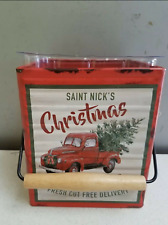 Teleflora 2019 Metal Merry Vintage Christmas Red Truck with Tree Tin Cube