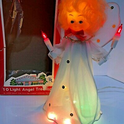 Vintage Angel Light Up Christmas Tree Topper Wire Mesh Rubber Face Doll Light Up