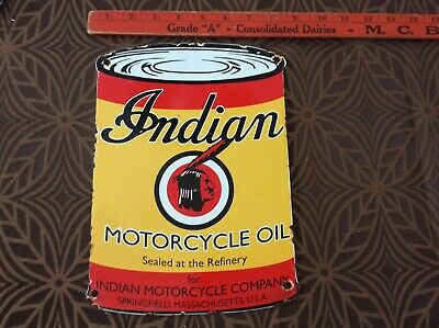 Vintage Indian Motorcycle Oil Porcelain Gas and Oil Can Plate