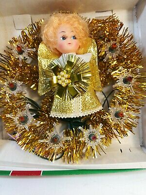 Vintage Tinsel Light Up Angel Tree Topper Wreath Christmas World Electric Color