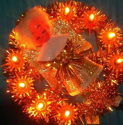 VTG Light Up Flashing Gold Tinsel Angel Christmas Tree Topper Wall Hang Wreath