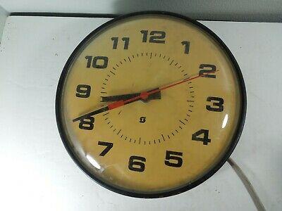 "Vtg SIMPLEX 14"" School Clock 2310 Dome Glass Face Industrial Factory Wall Hanger"