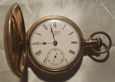 1883 Model Waltham Mens Pocket Watch 18s 7j Engraved Hunter Case Gold Filled