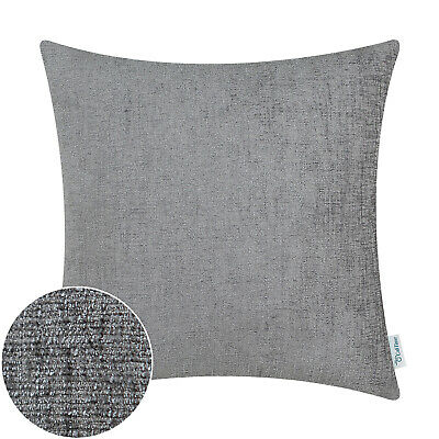 """2Pcs Grey Cushion Covers Pillow Shell Solid Dyed Soft Chenille Sofa Decor 22x22"""""""