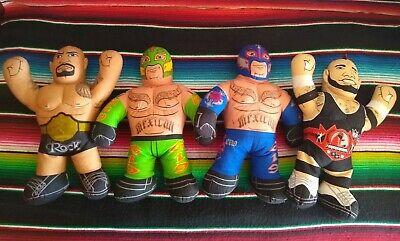 "4 WWE 16"" Plush Wrestlers 2011 WWE Brawlin Buddies Rock Mysterio Brodus Clay"