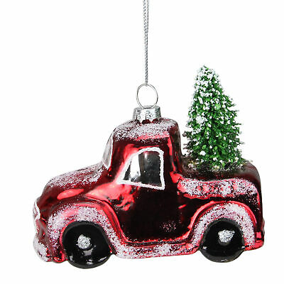 """4.25"""" Red and Green Frosted Shiny Red Pickup Truck with Tree Flocked Glass"""