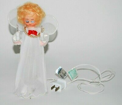 """Angel Christmas Tree Topper Lights Up Small 8"""" Tall White Plug In"""