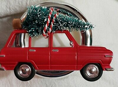Bath Body Works Scentportable RED JEEP TRUCK WITH CHRISTMAS TREE Holder Clip