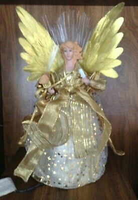 """BEAUTIFUL FILIGRE LIGHT-UP GOLDEN ANGEL CHRISTMAS TREE TOPPER/TABLE DECORATION """""""