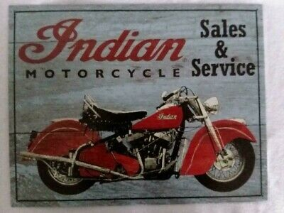 Indian Motorcycle Sign Sales Service Vintage Metal Advertising Tin New USA