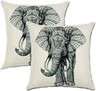 Jahosin Set Of 2 Throw Pillow Covers 18 X 18 Inches,Decorative Elephant Cushion