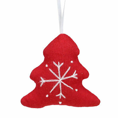 """Kaemingk 4"""" Red And White Tree With Snowflake Cotton Christmas Ornament"""