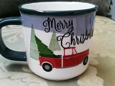 LARGE NEW WITH TAGS RED TRUCK WITH CHRISTMAS TREE IVORY MUG GREEN RIM HANDLES