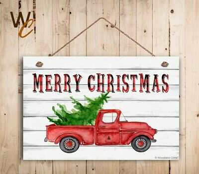 """Merry Christmas Sign, 8"""" x 12"""" Holiday Sign, Red Truck With Christmas Tree"""