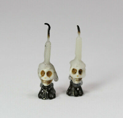 Miniature 1:12 Scale Pair of Spooky Halloween Skull Candle Sticks with Dripping