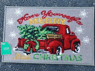 NEW Christmas Vintage Red Truck With Tree Door Mat Rug Bright Rustic Merry
