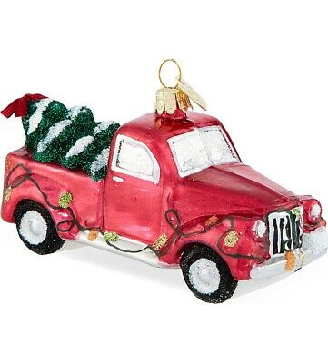 Noble Gems Red Truck with Christmas Tree and Lights Glass Ornament NB0200 New