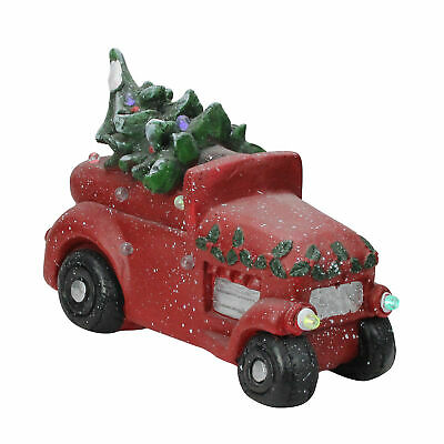 """Northlight 18"""" Musical LED Red Vintage Truck With a Decorated Christmas Tree"""