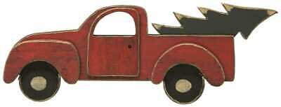 Red Wooden Vintage Pickup Truck with Christmas Tree Stand Alone