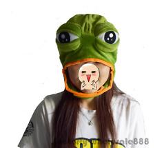 Sad Frog Pepe Costume Warmer Hat Cap Beanie Unisex Mask Adult Kids Gift Handmade