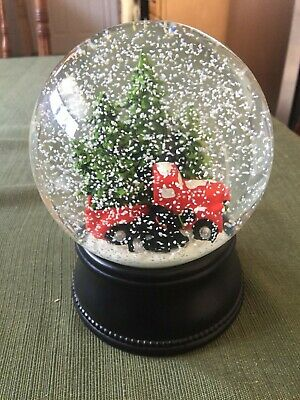 Snow Globe with Red Truck and Christmas Trees