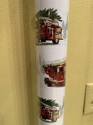 Tommy Bahama RED FIRE TRUCKS WITH CHRISTMAS TREES WRAPPING PAPER. NWT.