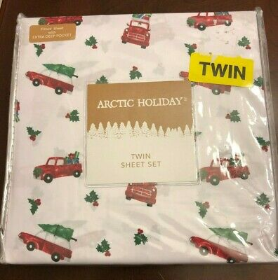 TWIN SHEET SET_Arctic Holiday RED TRUCK trees on white COTTON - New with Tag