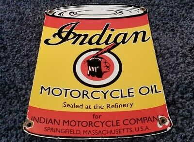 VINTAGE INDIAN MOTORCYCLE PORCELAIN GAS CHIEF SERVICE STATION PUMP PLATE AD SIGN