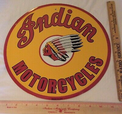 "vintage Indian Motorcycle sign collectible old biker advertising 12"" made USA"