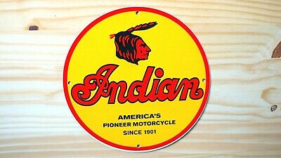 VINTAGE INDIAN MOTORCYCLES PORCELAIN SIGN GAS OIL PUMP PLATE LUBESTER MOTORBIKE