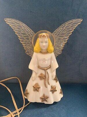 Vintage PARAMOUNT Angel Light Up Tree Topper Halo Wings Christmas Hard Plastic