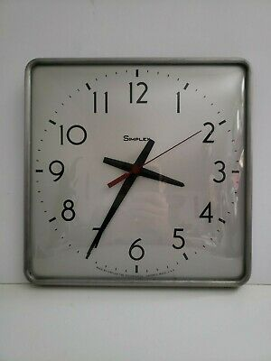 Vintage Simplex 1970s Aluminum Metal Glass School Square Industrial Wall Clock