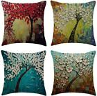 Wflosunve Oil Painting Tree Throw Pillow Covers 18X18 Inch Set Of 4, Faux Linen