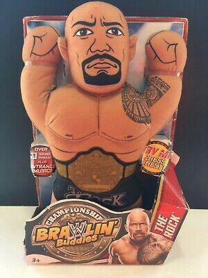 WWE Brawlin Buddies The Rock Championship Plush Toy Doll Wrestling Rare New!