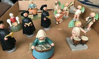 12 Vintage Wood West German Fishing Village Figures Christmas Carolers Drummer