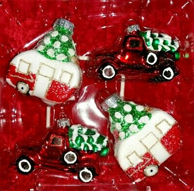 4 Piece Handmade Holiday Christmas Glass Ornaments Red Truck Trailer with Tree