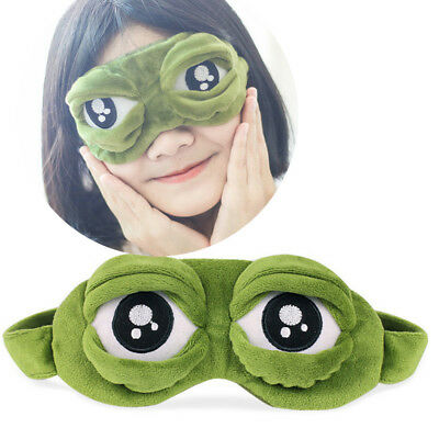 Anime Pepe the frog Sad frog 3D Eye Mask Cover Sleeping Funny Rest Sleep Animal