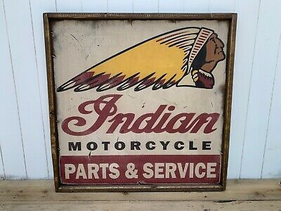 Awesome Vintage Style Indian Motorcycle Rustic Wooden Sign 24x24
