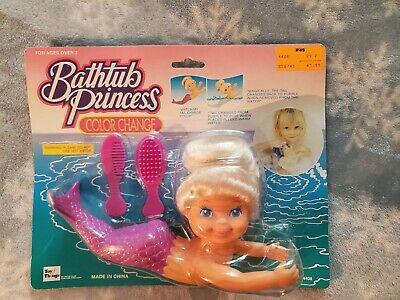 Bathtub Princess Color change blonde mermaid with purple tail Bathtub doll NIB