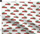 Car Tree Truck Vintage With Christmas Fabric Printed by Spoonflower BTY