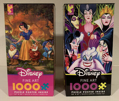 CEACO Disney Fine Art Snow White And Villians 1000 Piece Puzzles - Lot of 2