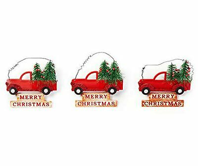 Clever Home Red Truck Christmas Tree Ornaments with Merry Christmas Sign and ...