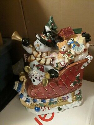 Cookie Jar Vintage Hand-Painted Snowman Santa's Sleigh with Toys and Treats Rare
