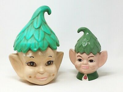 Cute elf cookie jars set of two large and small,vintage Christmas decorations