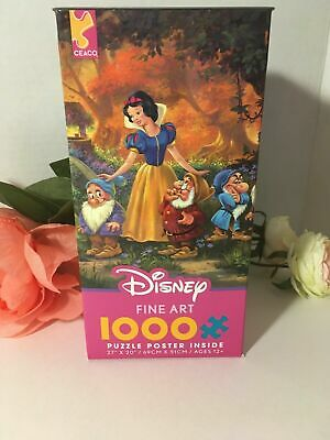 Disney Ceaco Fine Art 1000 Jigsaw Puzzle AMONG FRIENDS Snow White W/poster