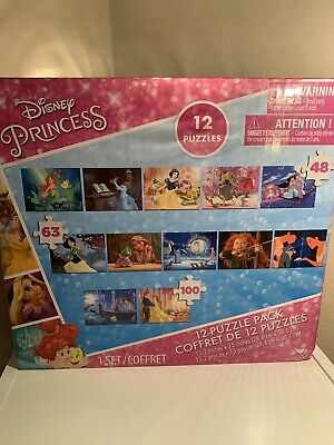 Disney Princess 12 Puzzle Pack Educational Jigsaw Puzzle for Kids ~ New In Box